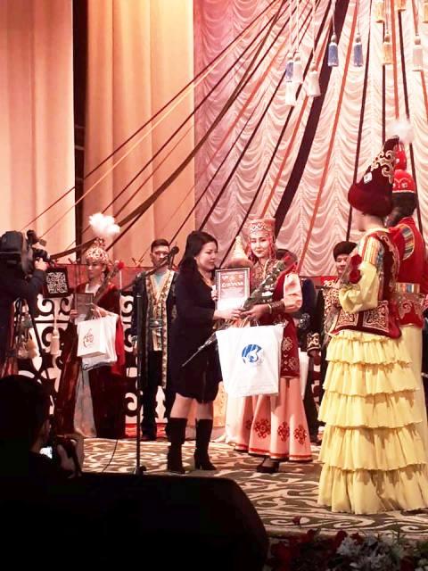 "4 - A student of the institute Dinara Nuratdinova has taken part in the international festival ""Asil mura"" that was held in Kazakhstan"