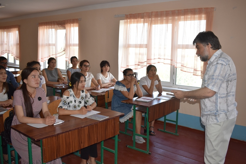DSC 1561 - Professor-teachers of  Kuban State University of Russian Federation  are holding classes at Nukus State Pedagogical Institute
